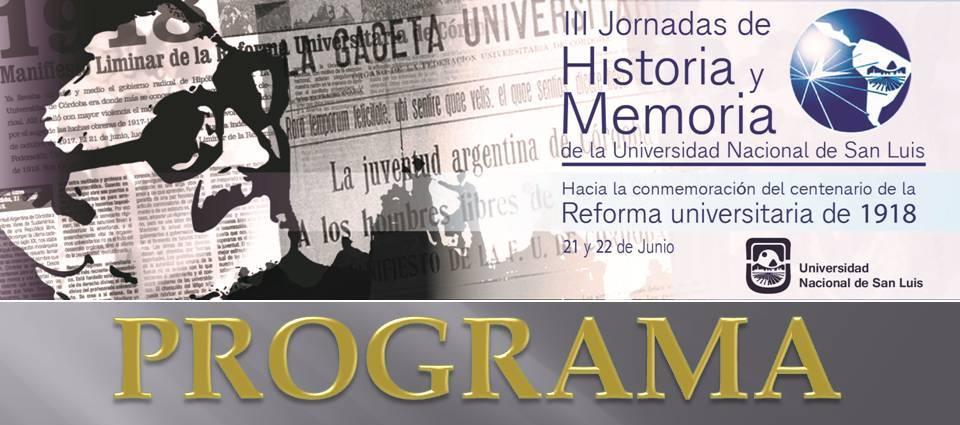 PROGRAMA – IIIº Jornadas de Historia y Memoria